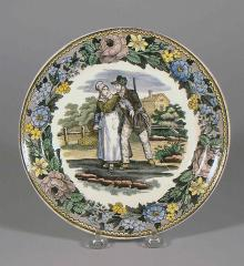 Hand Colored Transfer Pearlware Plate - A12325