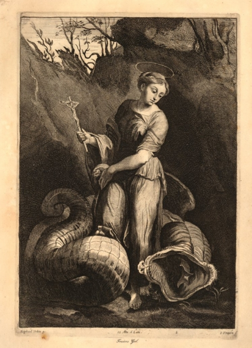 Saint Margaret print by Jan Van Troyen 1656-1660 British Museum