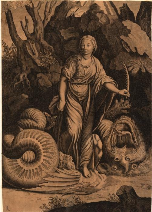 Saint Margaret print after Giulio Romano 1600-1700 British Museum