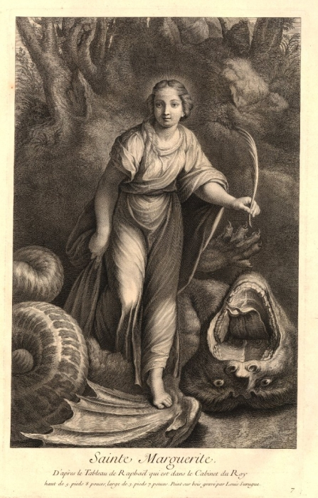 Saint Margaret print by Louis Surugue 1729-1740 British Museum