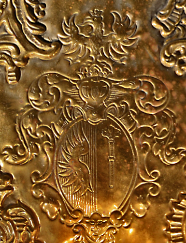 Brass Sconce Detail of Crest