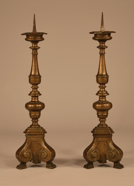 Pair of 17th Century Pricket Candlesticks