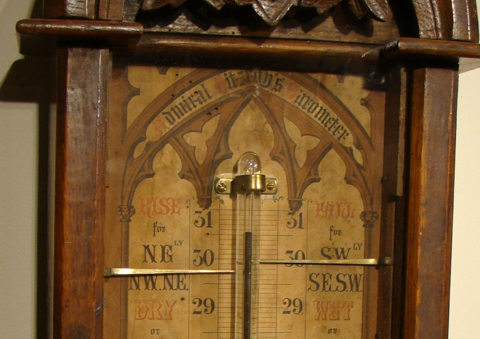 Admiral Fitzroy Barometer in Oak Case Detail  c.1885