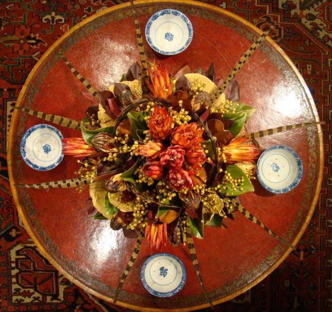 Flower Arrangement with Protea, Mahogany Pods, Mushrooms, Lemon Leaf and Magnolia Leaf
