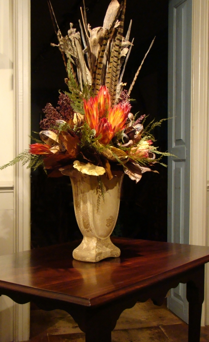 Protea, Fern, Stag Horn, Black Sorghum, Feathers, with Lotus, Mahogany and Cotton Wood Pods