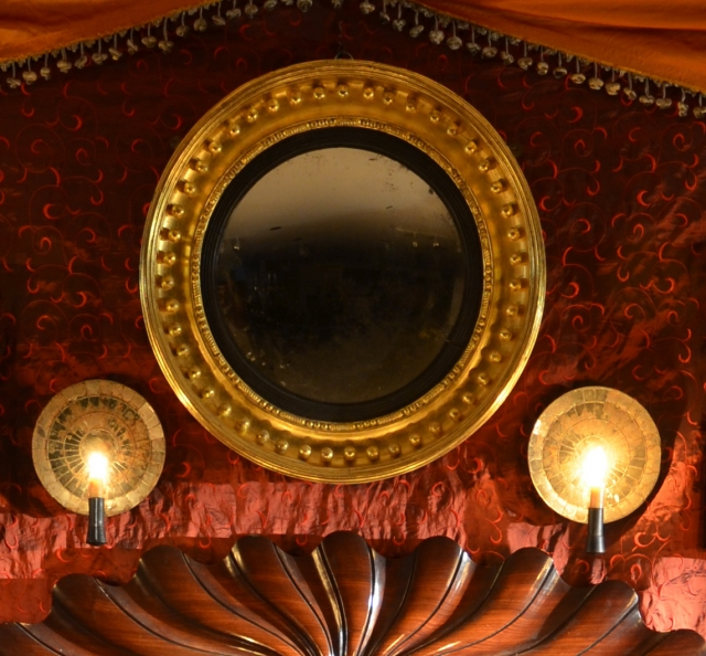 Pair of Sconces and Convex Mirror
